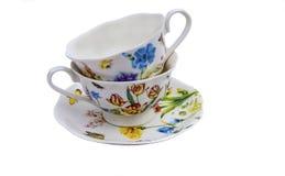 Комплект чая, комплект кофе, поддонник, чашка, белая предпосылка, утварь кухни, kitchenware Стоковая Фотография