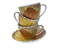Комплект чая, комплект кофе, поддонник, чашка, белая предпосылка, утварь кухни, kitchenware Стоковая Фотография RF