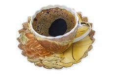 Комплект чая, комплект кофе, поддонник, чашка, белая предпосылка, утварь кухни, kitchenware Стоковые Фото