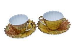 Комплект чая, комплект кофе, поддонник, чашка, белая предпосылка, утварь кухни, kitchenware Стоковые Фотографии RF