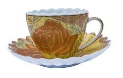 Комплект чая, комплект кофе, поддонник, чашка, белая предпосылка, утварь кухни, kitchenware Стоковое фото RF