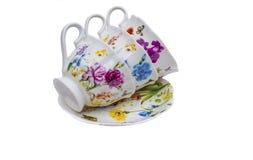 Комплект чая, комплект кофе, поддонник, чашка, белая предпосылка, утварь кухни, kitchenware Стоковое Фото