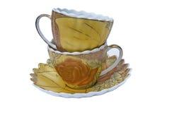 Комплект чая, комплект кофе, поддонник, чашка, белая предпосылка, утварь кухни, kitchenware Стоковое Изображение