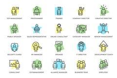 Комплект человеческих ресурсов вектора и линия значки управления организационных форм бизнеса покрашенная с названиями Сыгранност Стоковое Изображение