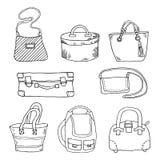 Комплект чемоданов и сумок Иллюстрация вектора