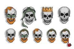 Комплект черепа татуировки людск иллюстрация штока
