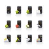 комплект черни иконы comunications Стоковая Фотография