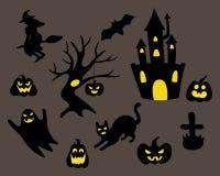 Комплект черного силуэта хеллоуина иллюстрация штока