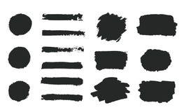 Комплект черной краски руки grunge, округлые формы, нашивки, ходы щетки чернил, рука покрасил круги, щетки, линии изолированные н иллюстрация вектора