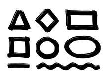 Комплект черной краски, ходов щетки чернил, щеток, линий Элементы графического дизайна, коробки, рамки для текста бесплатная иллюстрация