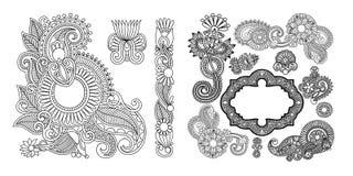 Комплект черной линии элементов флористического дизайна в стиле хны иллюстрация штока