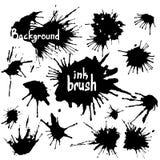 Комплект черноты закрывает и чернила брызгают Абстрактные элементы для дизайна в стиле grunge иллюстрация штока