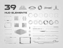 Комплект черно-белых элементов HUD UI для дела app Элементы головного дисплея для сети и app Футуристический потребитель иллюстрация вектора