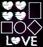 Комплект черных абстрактных элементов играет главные роли, объезжает, придает квадратную форму, косоугольник, сердца, текст влюбл Стоковое Изображение RF
