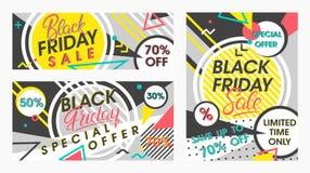 Комплект черных знамен продажи пятницы Стоковое фото RF