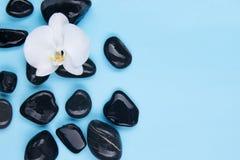 Комплект черных камней на голубой предпосылке с белизной стоковые фотографии rf