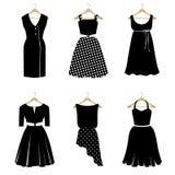 Комплект 6 черных платьев иллюстрация вектора