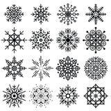 Комплект черных снежинок большой различных изменений на белом backgr Стоковое Изображение RF