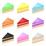 Комплект чизкейков изолированных на белой предпосылке Vector иллюстрация красочных сладостных тортов для вашего дизайна иллюстрация вектора