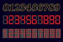 комплект чисел 1, 2, 3, 4, 5, 6, 7, 8, 9, 0 Различные добавления вектор Стоковые Изображения RF