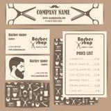 Комплект шаблона дизайна визитных карточек и цен парикмахерской парикмахерской винтажный Стоковые Фотографии RF