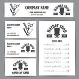 Комплект шаблона дизайна визитных карточек и цен парикмахерской парикмахерской винтажный Стоковое фото RF