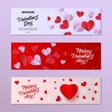 Комплект шаблона карточки дня валентинок вектора счастливый Стоковые Изображения