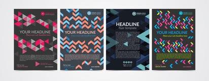Комплект шаблона плана дизайна рогульки брошюры дела с геометрической картиной Стоковая Фотография RF
