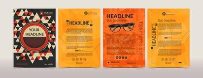 Комплект шаблона плана дизайна рогульки брошюры дела с геометрической картиной предпосылки самомоднейшие Стоковая Фотография RF