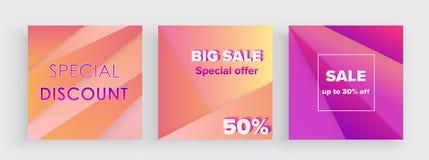 Комплект шаблона предпосылки знамени продажи красочного градиента ультрамодного Продажа дизайна крышки большая и специальное пред иллюстрация штока