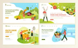 Комплект шаблонов дизайна интернет-страницы для еды и питья, натуральных продучтов, натуральных продуктов, ресторана, онлайн мага иллюстрация вектора