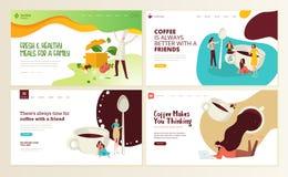 Комплект шаблонов дизайна интернет-страницы для кофе, бара кафа, кофейни, ресторана, здоровой еды и питья, поставки еды иллюстрация вектора