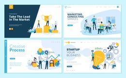 Комплект шаблонов дизайна интернет-страницы для творческих процесса, успеха в бизнесе и сыгранности, выходя на рынок советовать с иллюстрация вектора