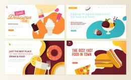 Комплект шаблонов дизайна интернет-страницы для фаст-фуда, мороженого, магазина печенья, кондитерскаи, помадок, ресторана, еды и  иллюстрация штока