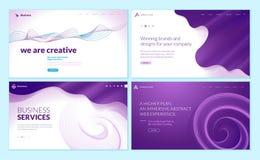 Комплект шаблонов дизайна интернет-страницы с абстрактной предпосылкой для обслуживаний предприятий, творческих решений дизайна,  иллюстрация вектора
