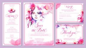 Комплект шаблонов карточки приглашения свадьбы - акварель красивая Стоковое фото RF