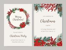 Комплект шаблонов приглашения рогульки или партии рождества украшенных с ветвями хвойного дерева и конусами, листьями падуба и иллюстрация вектора