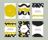 Комплект шаблонов при текстуры нарисованные рукой сделанные с чернилами Собрание с знаменами grunge вектора Стоковое Изображение RF