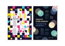 Комплект шаблонов рогульки с геометрическими формами и картинами, стилем 80s Мемфиса геометрическим стоковая фотография rf