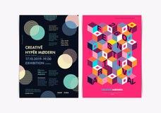 Комплект шаблонов рогульки с геометрическими формами и картинами, стилем 80s Мемфиса геометрическим стоковое изображение
