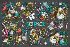 Комплект шаржа вектора темы науки возражает и символы