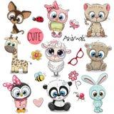 комплект шаржа животных милый бесплатная иллюстрация