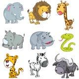 комплект шаржа животных милый иллюстрация вектора