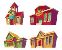 Комплект шаржа иллюстраций различных образовательных учреждений цвета, школ бесплатная иллюстрация