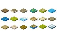 Комплект шаржа равновеликих плиток ландшафта с различными поверхностями Трава, земля, вода, трясина, камень, лед, грязь, древесин иллюстрация вектора