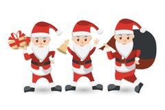 Комплект шаржа Санта Клауса Собрание рождества иллюстрация вектора