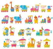 Комплект шаржа с различными животными на поездах Fox, жираф, обезьяна, слон, коала, зайчик, тигр, чудище, попугай иллюстрация штока