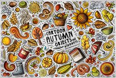 Комплект шаржа doodle вектора деталей, объектов и символов осени
