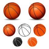 Комплект шариков баскетбола изолированных на белой предпосылке Стоковая Фотография RF