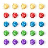 Комплект шариков рождества на белой предпосылке Украшение красочных игрушек рождества и Нового Года снежинкой иллюстрация штока